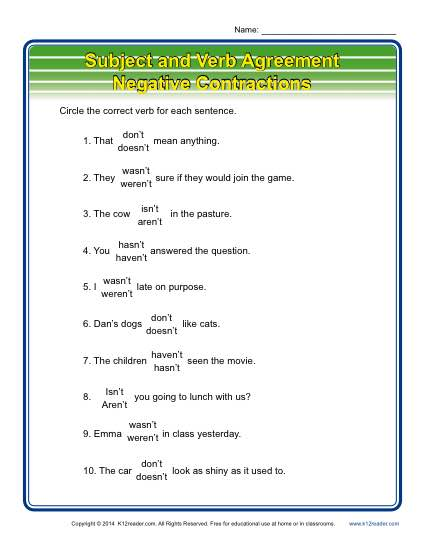 Negative Contractions Subject Verb Agreement Worksheets