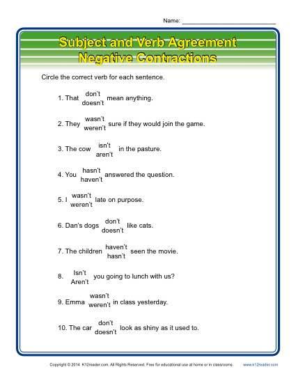 Negative contractions subject verb agreement worksheets subject verb agreement negative contractions platinumwayz