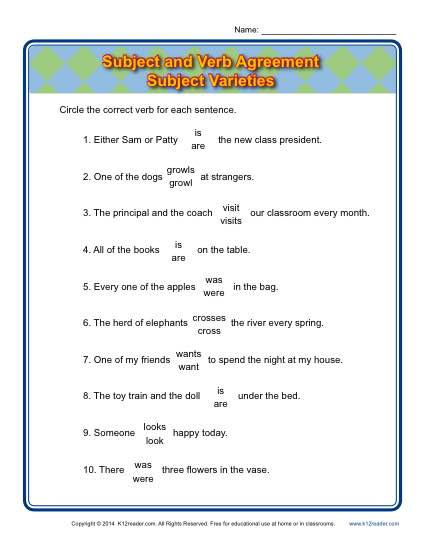 Subject Varieties | Subject Verb Agreement Worksheets