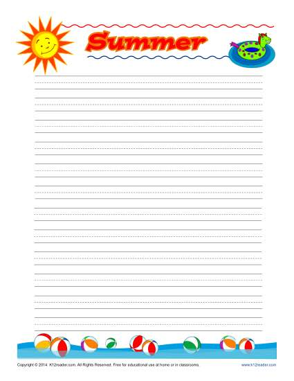 graphic relating to Free Printable Lined Writing Paper identify Summer time Printable Included Producing Paper