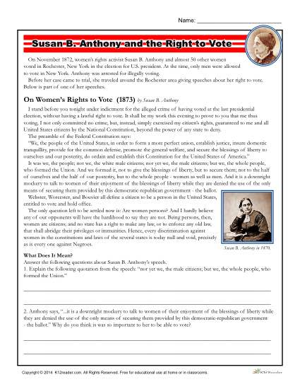 Printable Reading Worksheet - Susan B. Anthony and the Right to Vote