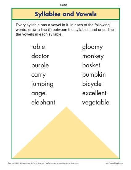 Syllable and Vowel Worksheet | Phonics Worksheets