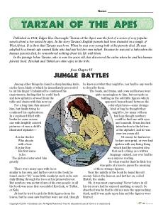 Tarzan of the Apes Reading Comprehension Set