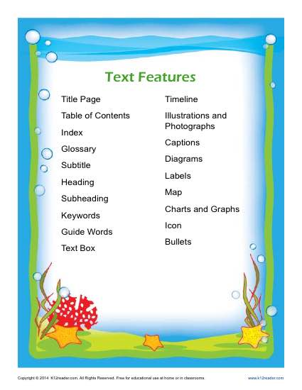 20 Free Printable Nonfiction Text Features Posters