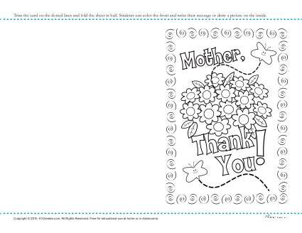 Printable Mother's Day Thank You Card Coloring Activity