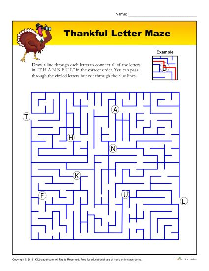 Thanksgiving Activity - Thankful Maze