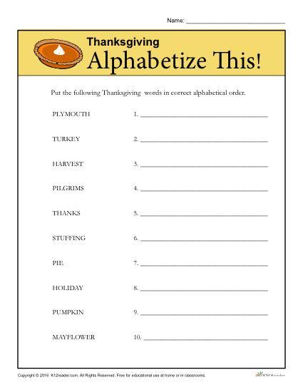 Thanksgiving Alphabet Practice Activity
