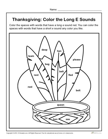 Thanksgiving Activity - Color the Long e Sounds
