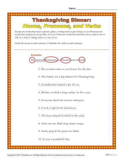 Thanksgiving Dinner Worksheet Nouns Pronouns And Verbs