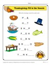 Thanksgiving Fill in the Vowels Activity