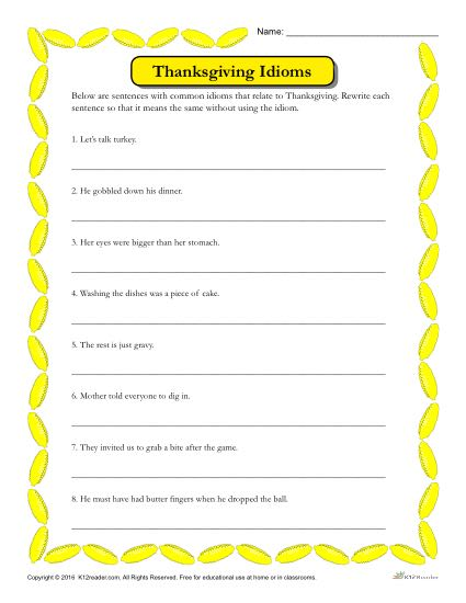 Thanksgiving Idioms Activity