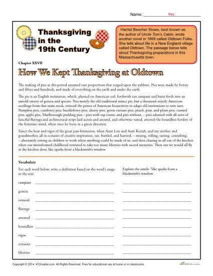Thanksgiving Worksheets - Thanksgiving in the 19th Century