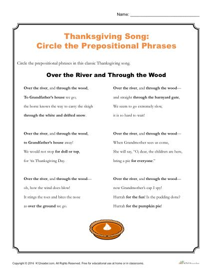 Thanksgiving Song Activity | Printable Prepositional Phrases Worksheet