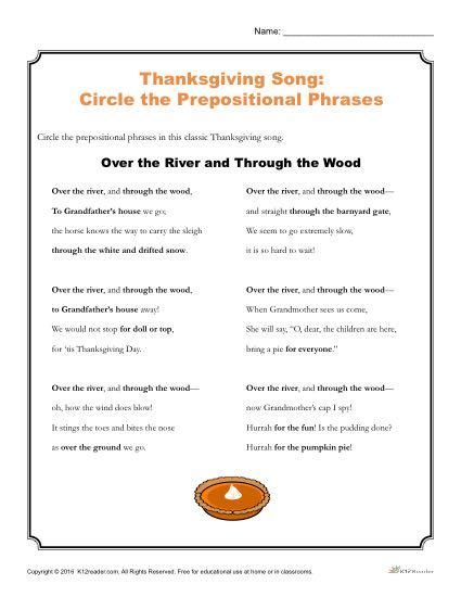 Thanksgiving Song Activity | Printable Prepositional Phrases Worksheet