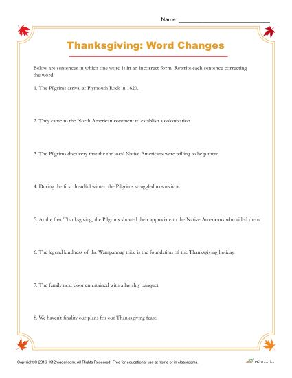 Thanksgiving Activity - Rewrite the Incorrect Word