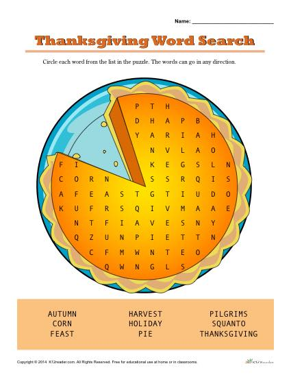 Thanksgiving Pumpkin Pie Word Search