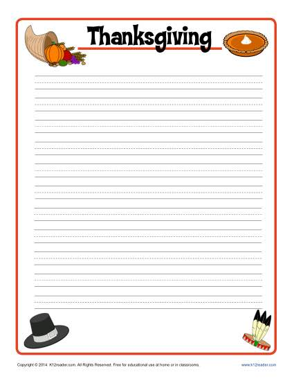 Thanksgiving Lined Writing Paper  Free Printable Lined Paper Template