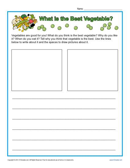Free Printable Kindergarten Writing Prompt - What is the Best Vegetable?