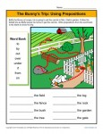 Using Prepositions Worksheet - The Bunny's Trip