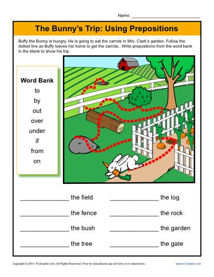 What is a Preposition? Printable Worksheet