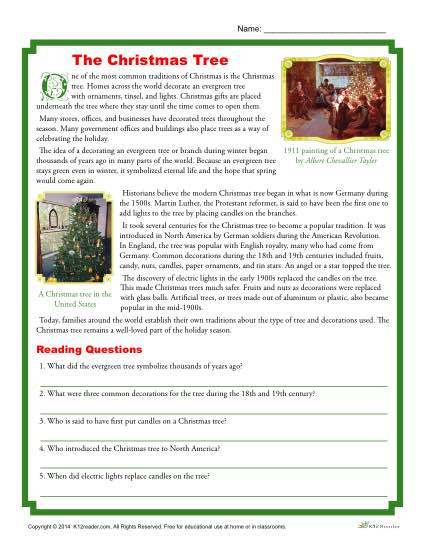 The Christmas Tree - Printable Reading Comprehension Activity