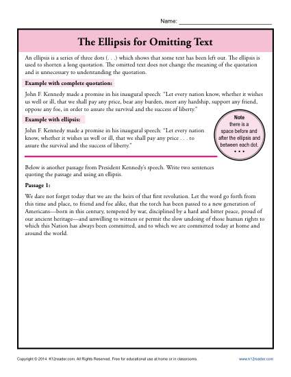 The Ellipsis For Omitting Text Punctuation Worksheets