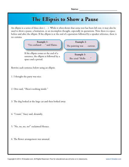 Punctuation Worksheet - Using an Ellipsis to Show Pause