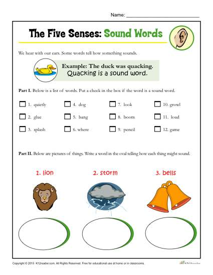 The Five Senses Printable Worksheet Activity for Kindergarten and First Grade - Sound Words