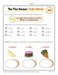 The Five Senses Printable Worksheet Activity for Kindergarten and First Grade - Taste Words