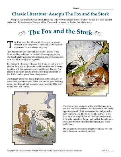 Aesop's The Fox and the Stork - Literature Comprehension Set