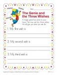 Kindergarten Writing Prompt - Genie and Three Wishes