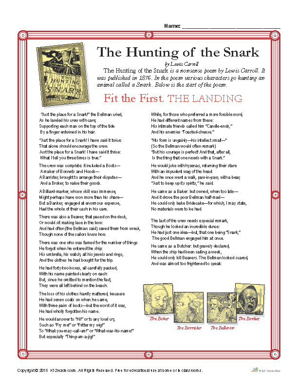 The Hunting of the Snark Reading Activity Worksheets
