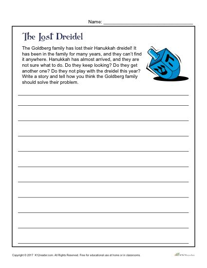 The Lost Dreidel Writing Prompt Activity