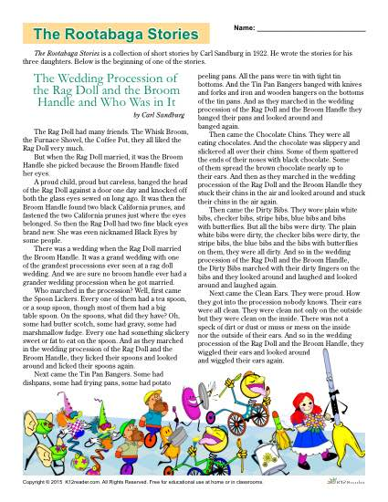 The Rootabaga Stories Classic Literature Worksheets