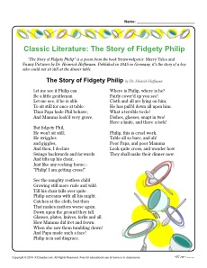 Free, Printable Classic Literature Reading Comprehension Set - Fidgety Phillip