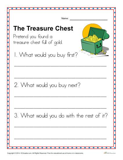 Kindergarten Writing Prompt- The Treasure Chest