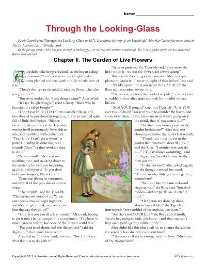 Through the Looking Glass Classic Literature Worksheets