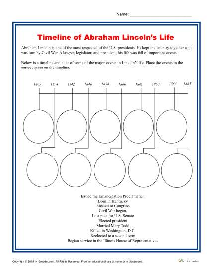 Lincoln's Birthday Printable Activity - Fill in the Timeline of Abraham Lincoln's Life