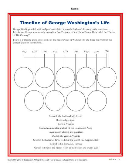 Washington's Birthday Printable Activity - Fill in the Timeline of George Washington's Life