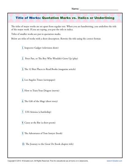 Titles of Works - Quotation Marks, Italics, or Underline - Worksheet Activity for Students