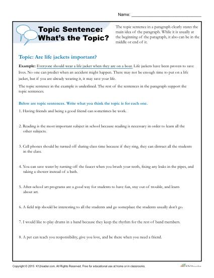 topic sentence what s the topic writing worksheet. Black Bedroom Furniture Sets. Home Design Ideas