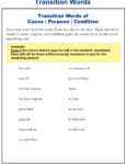 Cause, Purpose and Condition Transition Words