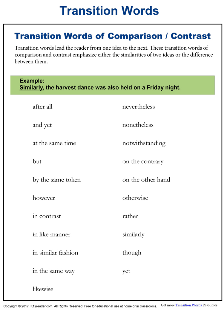 transition words for comparing and contrasting