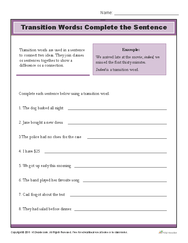 Transition Words - Complete the Sentence Printable Activity