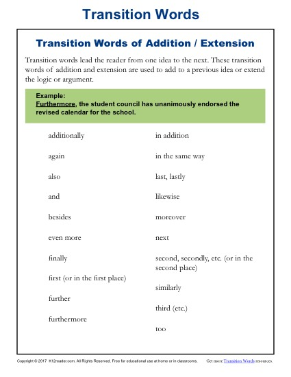 Transition Words List - Addition and Extension