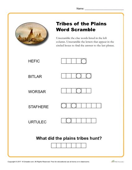 Native American Heritage Month Activity - Word Scramble