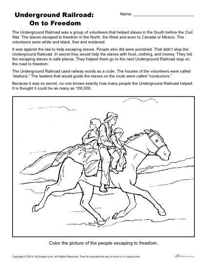 Underground Railroad Printable Activity - On to Freedom