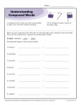 Understanding Compound Words Worksheet Activity for Students