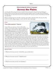 Across The Plains Reading Comprehension Activity