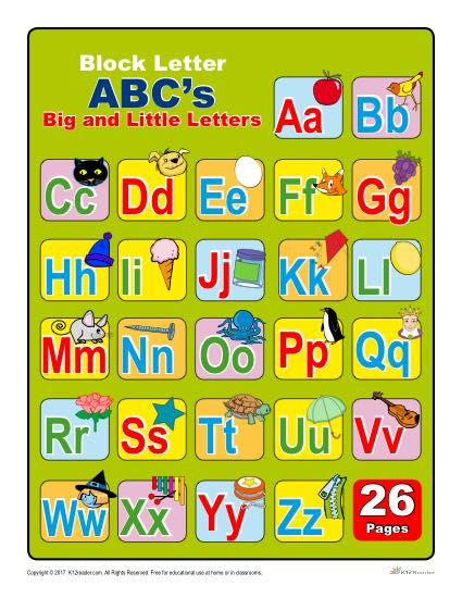 Upper and Lowercase Block Letters Chart